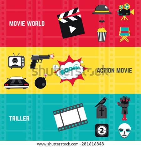 film horizontal banner set with
