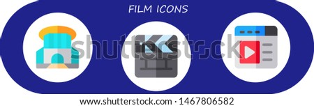 film icon set. 3 flat film icons.  Collection Of - siam paragon, clapperboard, video player Zdjęcia stock ©