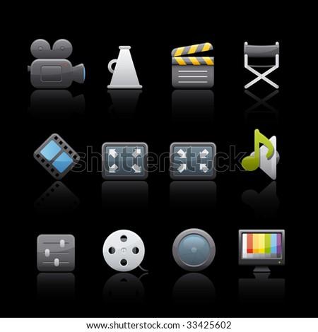 Film Icon Set in Black. Vector in Adobe Illustrator EPS 8 for multiple applications. - stock vector