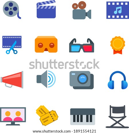 film industry flat icon set reel tape clap video action camera googles awards winner speaker announcement headset director chair piano music tickets television theater 3D glasses virtual assistance
