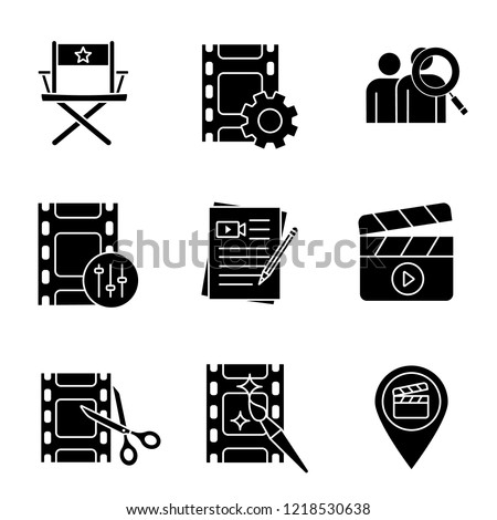 Film industry glyph icons set. Video settings, director's chair, audience research, sound mixer, movie scripts, clapperboard, video editing, locations. Silhouette symbols. Vector isolated illustration