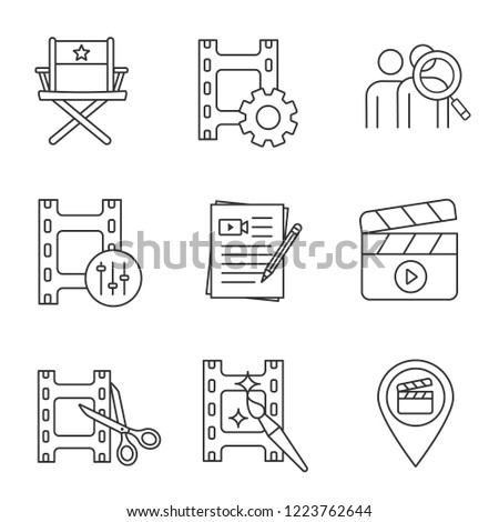 Film industry linear icons set. Video settings, director's chair, audience research, sound mixer, scripts, clapperboard, video editing, locations. Isolated vector illustrations. Editable stroke