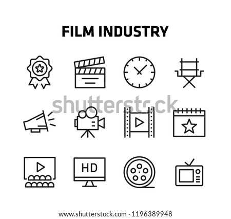 Film Industry Thin Line Icons for websites and mobile apps