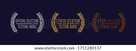 film movie award vector. laurel festival winner wreath. best cinema star icon. gold logo. celebrity branch prize. academy entertainment reel. reward emblem banner. silver. olive palm. Stockfoto ©