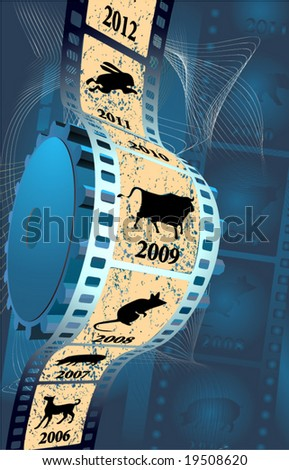 film on a blue background - stock vector