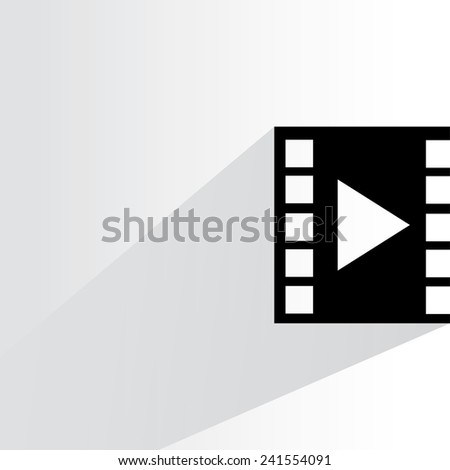 film on white background, flat and shadow theme