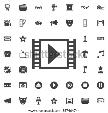 Film or Media Icons on the white background. Set of movie icons