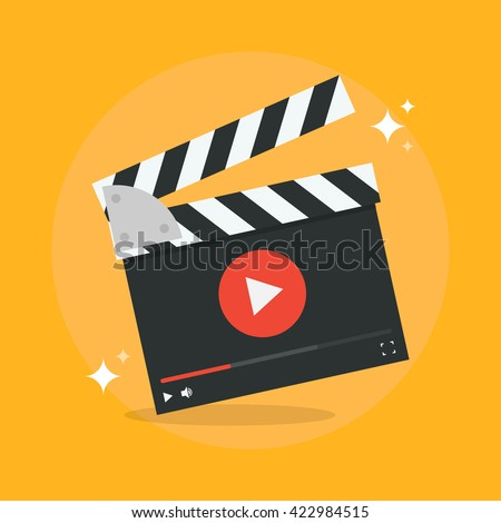 Film production concept vector illustration. Movie production icon in flat style isolated from the background. Video production design flat illustration.