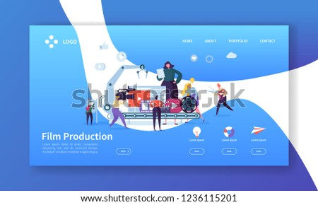 Film Production Landing Page. TV Video Industry Concept with Flat People Characters Making Movie Website Template. Easy Edit and Customize. Vector illustration