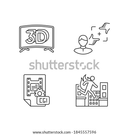 Film production linear icons set. 3D television. CGI for animation. Professional stuntman. Customizable thin line contour symbols. Isolated vector outline illustrations. Editable stroke Сток-фото ©