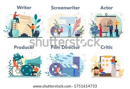 Film production profession set. Idea of creative people and profession. Movie director, actor, screen writer, producer, critic. Clapper and camera, equipment for film making. Vector illustration