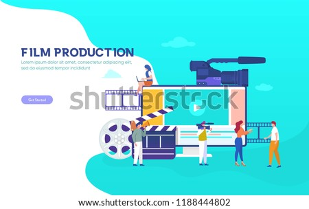 Film Production vector illustration concept, people people in the studio making a film, can use for, landing page, template, ui, web, mobile app, poster, banner, flyer, background