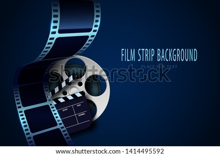 Film reel, clapper board and twisted cinema tape isolated on blue background. Movie poster template with sample text for cinema design. Cinematography concept. Vector illustration. EPS