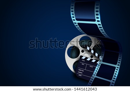 Film reel, clapper board and twisted cinema tape isolated on blue background. Movie poster template with place for your text. Cinema design element for backdrop, brochure, leaflet, publication, poster