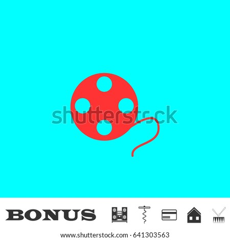 film reel icon flat red