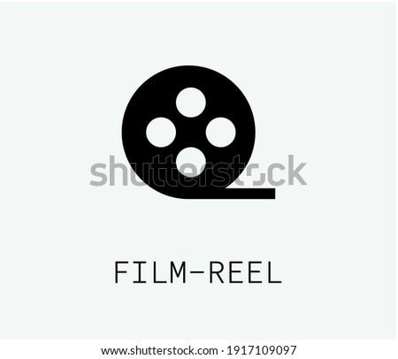Film reel vector icon. Editable stroke. Symbol in Line Art Style for Design, Presentation, Website or Apps Elements. Pixel vector graphics - Vector