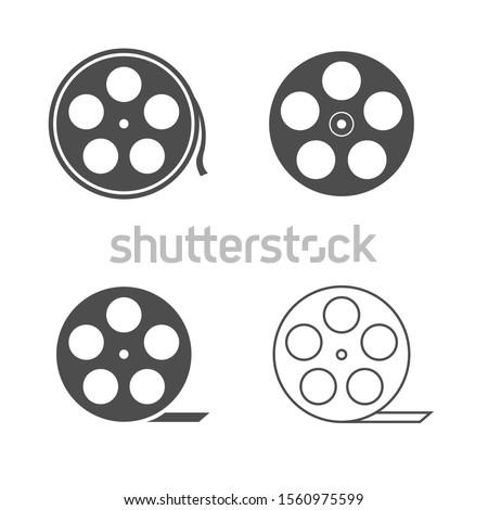 Film reels. Movie reel icon set, cinematography symbol Vector