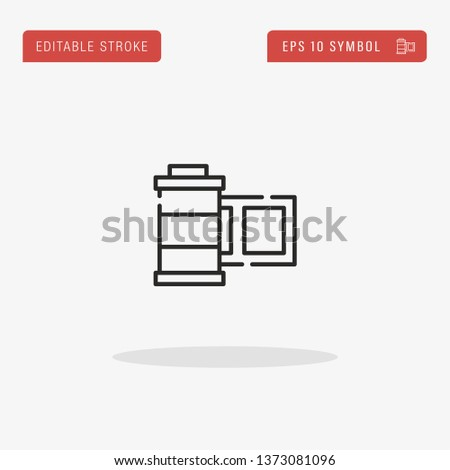 Film Roll linear vector icon. Modern outline Film Roll logo concept from Camera Interface collection. Suitable for use on web apps, mobile apps and print media.