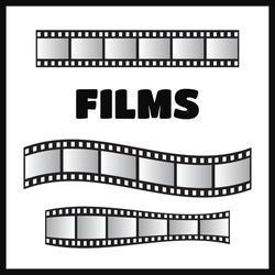 Film roll vector, film 35mm, slide film frame set vector