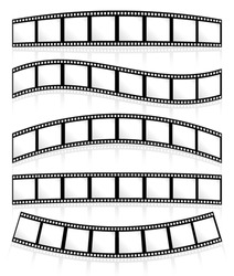 Film rolls on white, their eps 10 reflections following their curves, can be put on any background