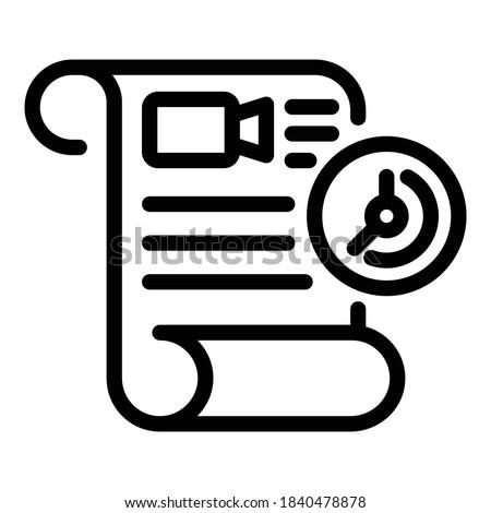 Film scenario icon. Outline film scenario vector icon for web design isolated on white background Foto d'archivio ©
