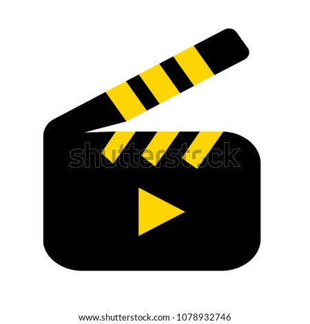 film slate - vector clip play button icon - movie media symbol - start watch or play video