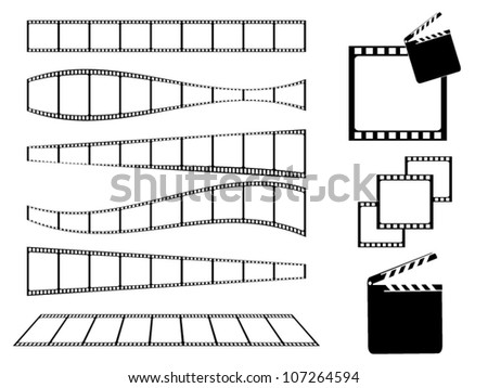 Film strip and movie clapper set