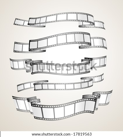 film strip banners - black and white- vector