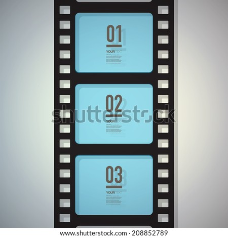 Film strip design with your text and numbers  Eps 10 stock vector illustration