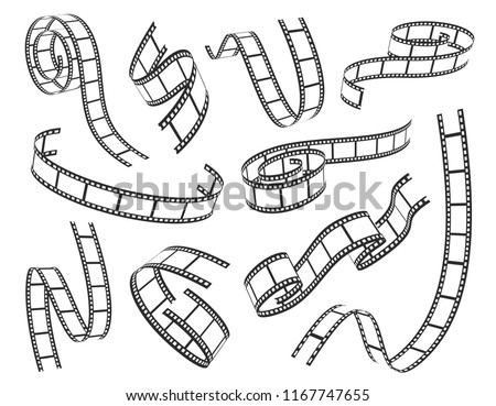 Film strip icon set. Series of transparencies in a strip for projection, movie and cinema design. Vector illustration on white background