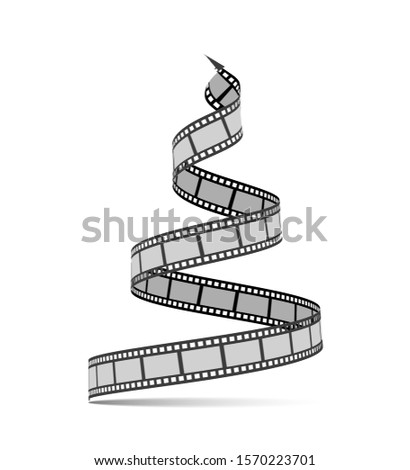 Film strip in the form of a Christmas tree. Film reel. Happy New Year for photographers, videographers, film production, etc. Vector 3d illustration on white background