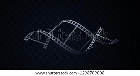 Film strip isolated on black background. Vector 3d illustration. DNA shape filmstrip. Filmmaking concept. Cinema or animation sign