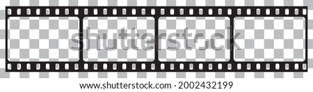 Film strip isolated vector icon. Retro picture with film strip icon. Film strip roll. Video tape photo film strip frame vector on transparent