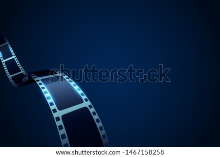 Film strip roll frame cinema background with place for text. Vector cinema festival poster, banner or flyer. Art design reel cinema filmstrip template. Movie time and entertainment concept.
