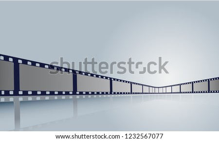 Film strip roll frame cinema with place for text. Vector cinema festival poster, banner or flyer background. Art design reel cinema filmstrip template.Movie time and entertainment concept. EPS 10