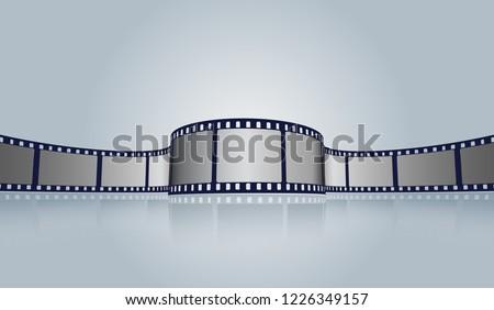 Film strip roll vector cinema background. Creative old film strip frame with place for text. Vector cinema festival poster, banner or flyer background. Art design reel cinema filmstrip template.EPS 10