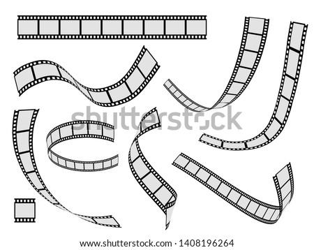 Film strip set. Cinema strip roll 35mm blank slide frame, photo video monochrome picture negative vintage media filmstrip, vector movie design Photo stock ©