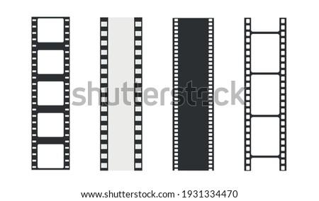 Film strip templates. Negative and strip, media filmstrip. Film roll vector, film 35mm, slide film set frame