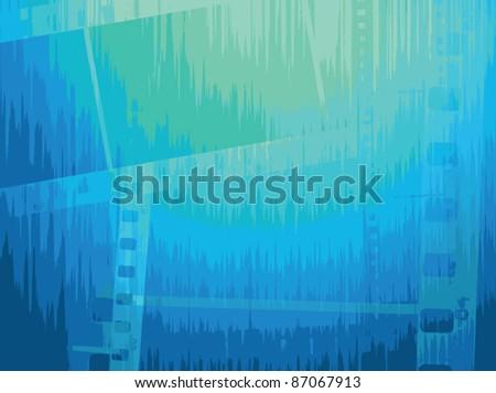 Film strip vector background in blue tones. Vector image.