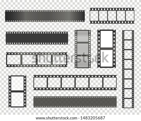 Film strip vector realistic illustrations set. Vintage movie and photo tape isolated cliparts pack on transparent background. Empty retro filmstrip design elements. Photography and cinematography