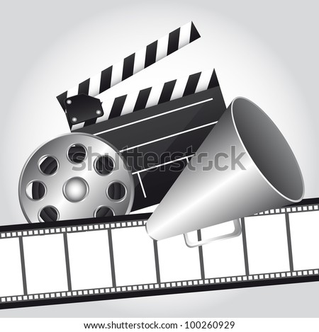 film strip with clapper board and megaphone, cinema. vector