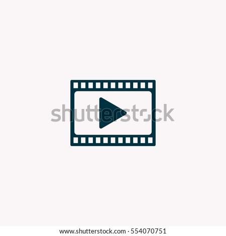 film strip with play - vector icon with shadow