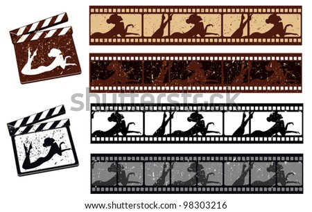 film strip with woman poses