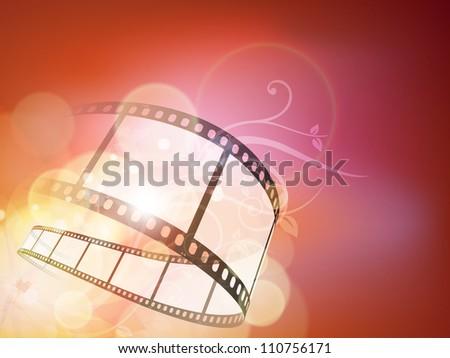 Film stripe or film reel on floral background. EPS 10