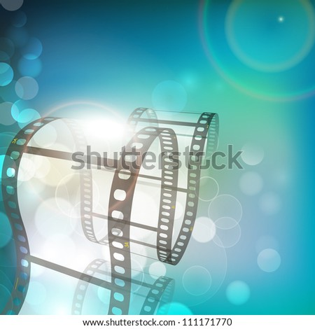 Film stripe or film reel on shiny green movie background. EPS 10 - stock vector
