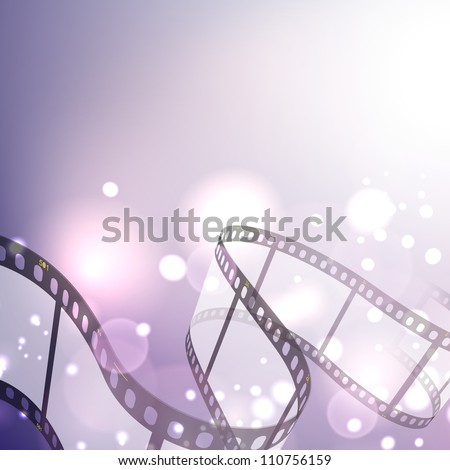 Film stripe or film reel on shiny purple movie background. EPS 10