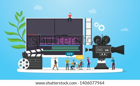 film video production concept with team people and camera editing with team people with flat modern style - vector