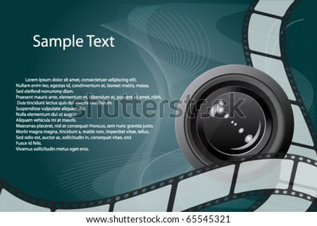 Filmstrip Background with Camera Lens Vector