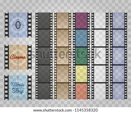 Filmstrip on transparent. Movie film strip isolated, vector cinema old reel camera strips, super 8 retro 35mm celluloid frames