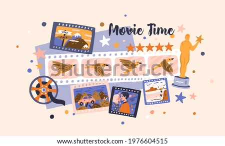 Filmstrips and cinema award for best festival film. Hollywood prize winners in cinematography industry. Video production, cine theater, and movie time concept. Colored flat vector illustration